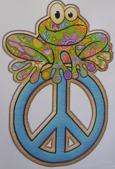 """Peace Sign Bedroom Accessories: Free: HUGE 6"""" WALL DECAL-Groovy,Trippy FROG N PEACE Sign"""