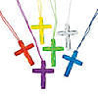 "One Choice of Color (Red is gone) Crystal Look Acrylic Cross Necklace - 2"" cross / 26"" total"