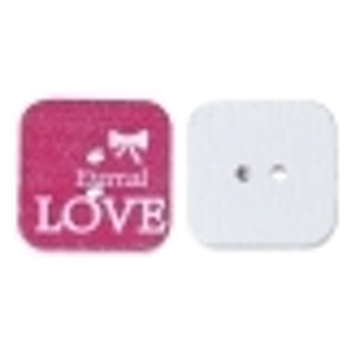 Two Square LOVE Wood Button - 20mm