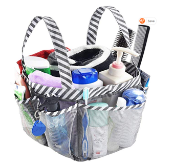 COLLEGE NEEDS! Mesh Shower Caddy Tote, Portable College Dorm Bathroom Tote with Key Hook