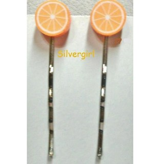 Polymer Clay Orange Slice Bobby Hair Pins