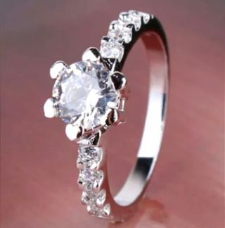 18K White GF White Sapphire Ring SZ 5