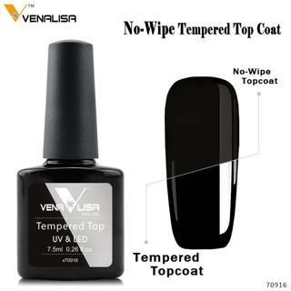 Venalisa Tempered No Wipe Top Coat Base Gel Top Coat Matte Top Nail Gel 7.5~12ml All Nail Base&Top