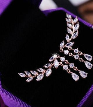 Chic Luxury Fashion Women Crystal Rhinestone Ear Stud Leaves Tassel Earrings