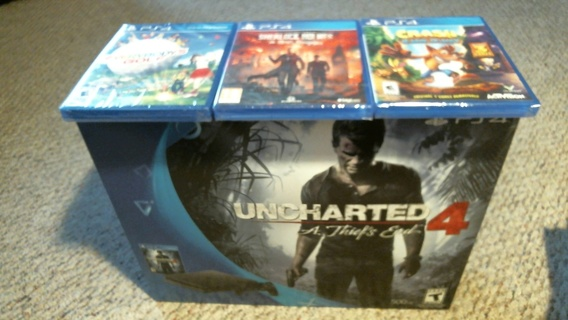 "New in Sealed Box: ""PS4 Uncharted 4 A Thief's End 500 Gb & 3 New Sealed Games"""