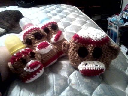 Free Sock Monkey 48oz Bottle Cover Crochet Pattern Other Baby