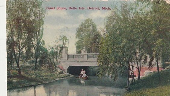 Vintage Used Postcard: 1914 Canal Scene, Belle Isle, Detroit, MI