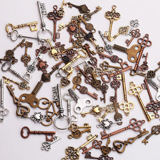 25PCs Mixed Key Shape DIY Necklace Key Chain Charm Metal Jewelry Making Pendants