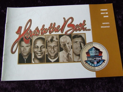 2000 Ronnie Lott San Francisco 49ers Hall Of Fame Breakfast Program
