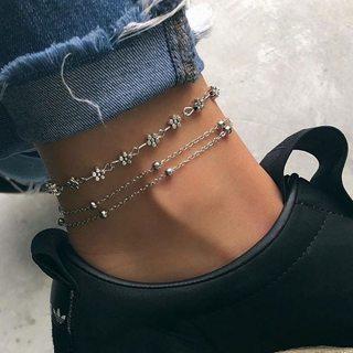 2 Pcs/set Women Fashion Exquisite Flower Heart Beads Chain Multilayer Silver Anklet Set Charm
