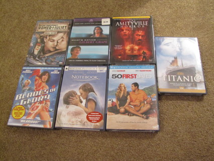 Lot of Seven NEW DVDs. Notebook, Titanic, Blades of Glory,  50 First Dates, Amityville Horror, etc