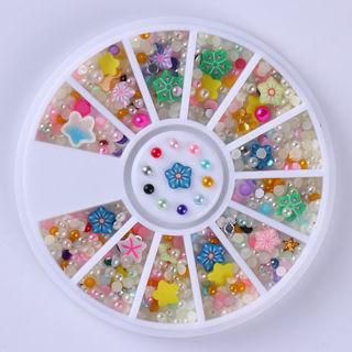 2Box Colorful 3D Nail Art Decoration Semi-circle Pearl Bead Fimo Fruit DIY Stickers