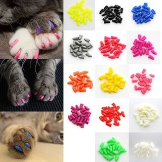 20 pcs Soft Cat Paw Nail Caps Cover Pet Nail Protector with Free Adhesive Glue