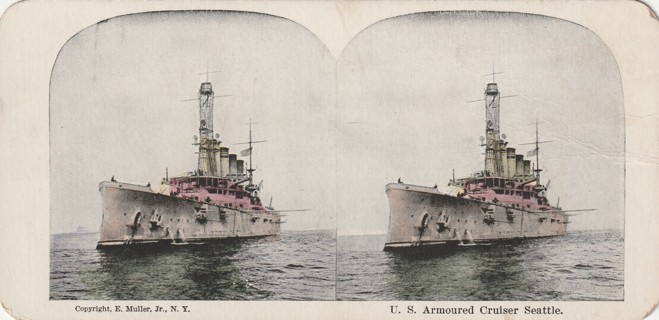 Vintage Early 1900-1930 Stereograph, Photo: Battleship: U.S. Armoured Cruiser Seattle