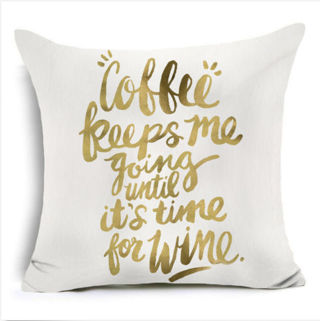 Gold Letters Trees Printed Polyester Pillow Case Cushion Cover Throw Home Decor