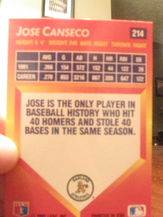 Free 1992 Jose Canseco Donruss Triple Play Baseball Card