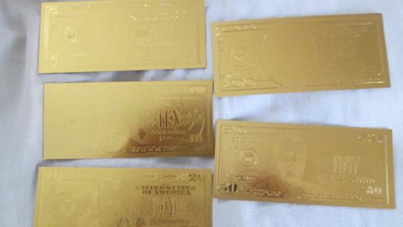 24k gold Collectors Bill / Banknote $5 -$10 - $20 - $50 - & $100
