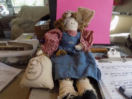 16 inch fabric doll Moms Fix it shop Holds bag says Tear, & hurt feelings