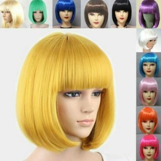 [GIN FOR FREE SHIPPING] Fashion Women Girls Lady Short Straight BOB Hair Full Wig Cosplay Party