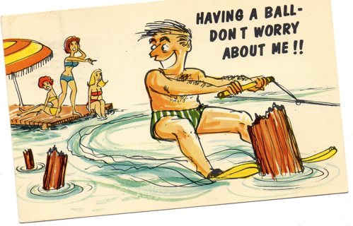 Vintage used postcard: Comic:1968  Having a Ball-Don't Worry About Me!