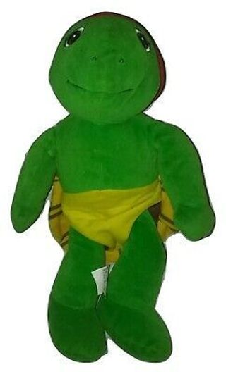 "1986 NELVANA 14"" FRANKLIN TALKING TURTLE PLUSH TOY KIDPOWER With Removal She"