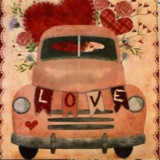 "Adorable Valentine car - 4 x 4"" MAGNET"