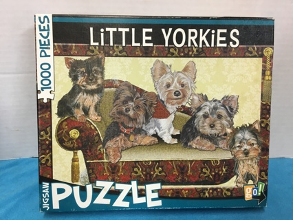 """L91 LITTLE YORKIES DOGS 1000 PCS JIGSAW PUZZLE BY """"GO!"""" USED"""