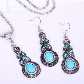 ❤️Lovely Turquoise Necklace & Earrings Set-NEW