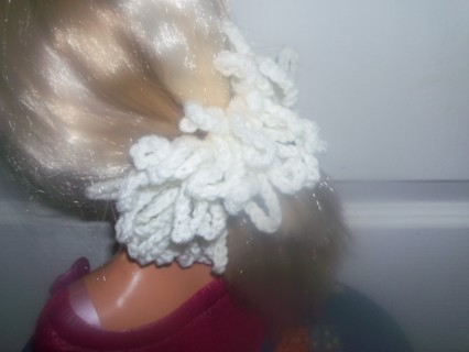 NEWLY CROCHETED SOFT WHITE HAIR SCRUNCHIE