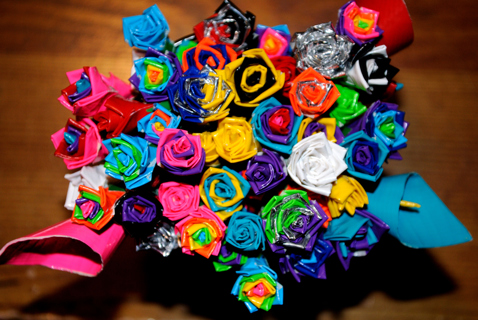 Silver Duct Tape flowers.