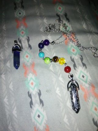Natural Snowflake Obsidian Crystal Pendulum Necklace and Lapis Lazuli Stone Pendant for Necklace
