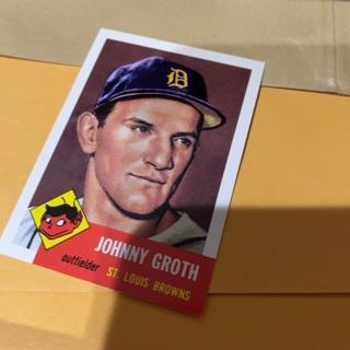 1953 topps archives Johnny groth baseball card