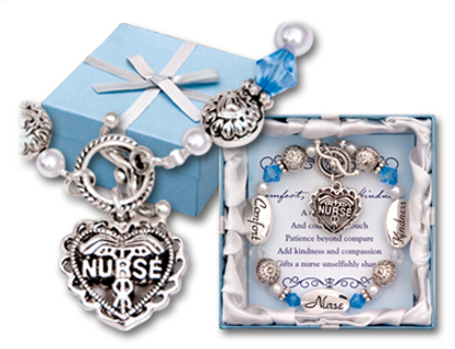 Nurse Charm Bracelet Silver Pearls Beads In Gift Box