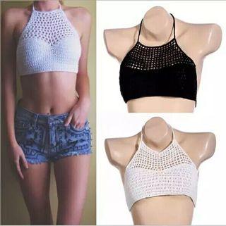 bf28923da1a80 FREE  Women Crochet Lace Bralette Knit Bra Boho Beach Bikini Halter Cami  Tank Crop Top