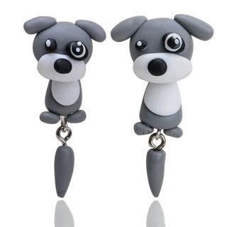 2 Pairs Women Earring 3D Cute Dog