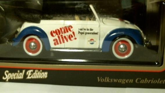 "New in Box: 1:18 Scale Die-Cast: ""Special Edition Pepsi-Cola 1951 Volkswagen Cabriolet"""