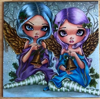 """TWIN CHRISTMAS ANGELS! - 4 x 4"""" MAGNET"""