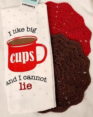 "Crochet COFFEE 2 - 9"" Dish Cloth/Wash Cloths 1 TERRY CLOTH TOWEL"