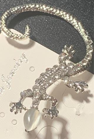 Lizard & Rhinestone Earring Cuff, silver tone