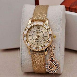 Fashion Women Bracelet Bangle Faux Leather Crystal Quartz Analog Wrist Watch