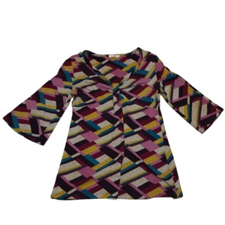 ONE WORLD Colorful Wide Sleeve Top Large