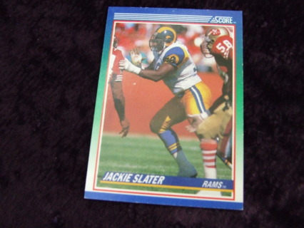 1990 HOFer Jackie Slater Los Angeles Rams Score Card #81