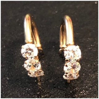 14KT Yellow Gold Round CZ Child Size Hoop Earrings