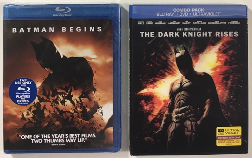 Batman Begins and The Dark Knight Rises Blu-ray Movies - Brand New Factory Sealed