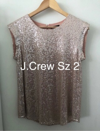 Gorgeous J.Crew Peach Sequin Top • Sz 2 • Excellent • Free Shipping