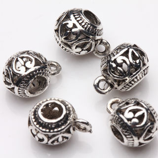 20Pcs Tibetan Silver Heart Carving Spacer Beads Jewelry Making Craft 11x8mm