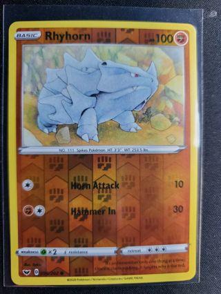 Pokemon - Rhyhorn - 96/202 - Reverse Holo Sword and Shield NM