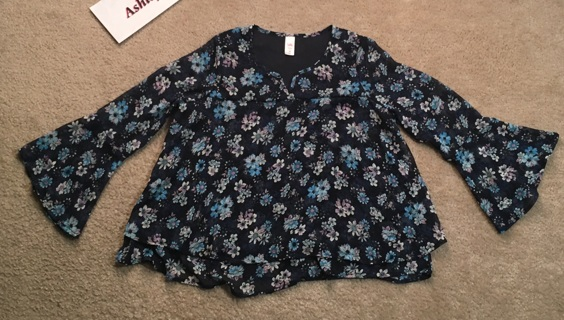 cute floral shirt frilly ruffled top long sleeve light weight floral blouse FREE SHIPPING