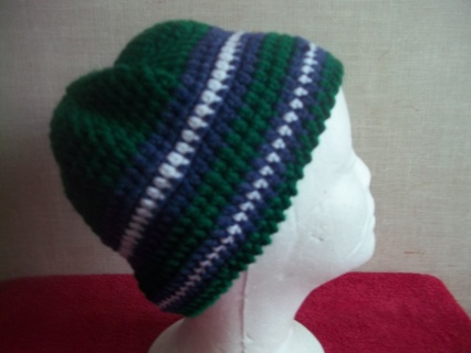 Crocheted Green, Blue and White Striped Kid's Hat