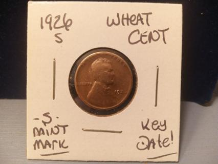 KEY DATE 1926-S WHEAT CENT -S- MINT MARK!
